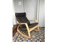 Ikea Poang Leather Rocking chair.