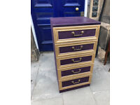 Modern Chest of Drawers - Painted Purple and Gold Size W 20in D 18in H 41in. Free Local Delivery