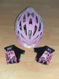 Bell Alibi Bike Helmet - Pink Flowers (50-57cm) & cycling gloves XL kids