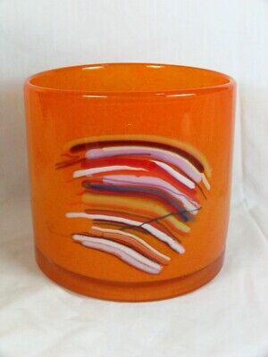 Mind Blowing Signed HENRY DEAN Art Glass CYLINDER VASE ORANGE ABSTRACT COLORED