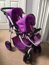 Dolls tandem pushchair