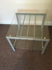 Glass square coffee table with silver legs etc