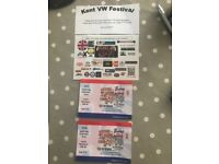 KENT VW FESTIVAL 27-29th July 2018 x 2 adult camping tickets under 16 free