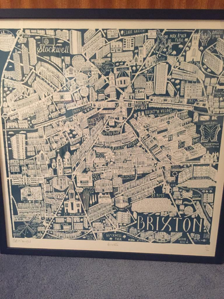 London Brixton Graphic Map, Framed Print/ Picture/ Artwork