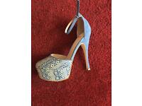 NEW Faith blue high heel ladies shoes 6