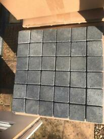 Mosaic tiles Black Lava Basalt Rock 300 x 300mm with tiles 50mm x 50mm