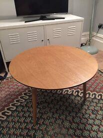 Ash veneer wood & white metal round coffee table Scandi