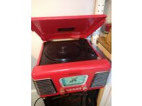Retro red Steepletone record player and radio