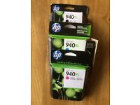 THREE HP 940XL INK CARTRIDGES, UNOPENED