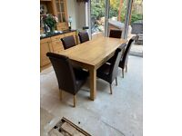 Oak furniture land Extending dining room table and chairs