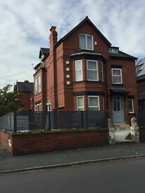 Large 2 bed 2 bath flat renovated to high standard, 3 min walk Chorlton tram. Must view