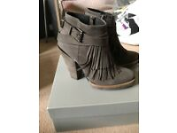 Topshop Leather Ankle Boots New in Box Fringing derail RRP £165