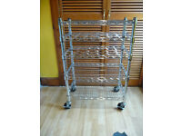 Chrome Wire Kitchen Storage Unit Wine Rack on wheels industrial catering trolley