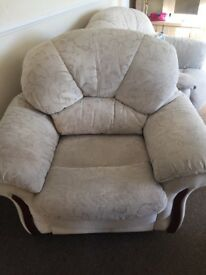 Cream Brocade Swing Recliner Chair. Comfortable and clean lovely condition from non smoking home .