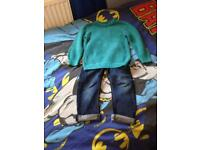 Next Boys Jumper and regular fit jeans 4 years