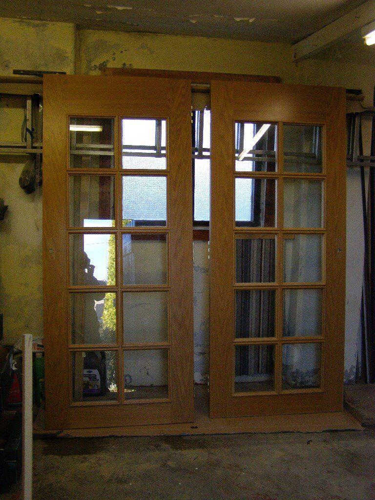 interior doors  10 clear glass panels  oak veneer  in