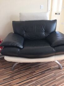 White/black leather setee and chair