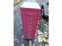 Lovely BISLEY Filing cabinet - 9 drawers, in red