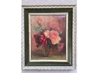 Signed French Floral Oil Painting