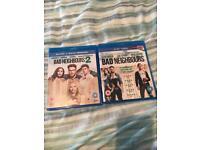 Bad Neighbours 1 + 2 Blu Ray's