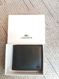 Lacoste Men's Billfold Credit Card Black Cow Leather Coin Wallet