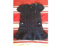 Ralph Lauren dark blue cotton cable dress 12m RRP £40.00