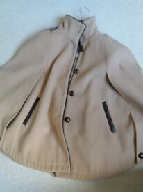 Womans Beige Coat Cape with buttons....perfect for autumn and winter (M/L)