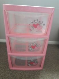 Girls plastic drawers pink