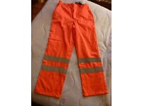 HI VIZ ORANGE WORKWEAR TROUSERS 30-32 WAIST