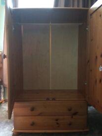 Children's pine wardrobe. H137cm, W88cm, D47cm. Good condition