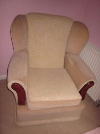 Small armchair, cream fabric