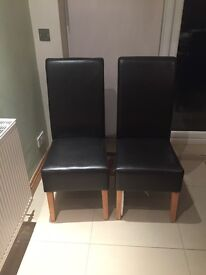 2 Brown Faux Leather Dining Chairs With Roll Back