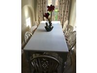Farmhouse Table & 6 Chairs, F&B Paint, Sanderson Seat Covers, Excellent Condition, Spindle Chairs.