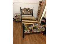 Marvel bed and bedside drawers