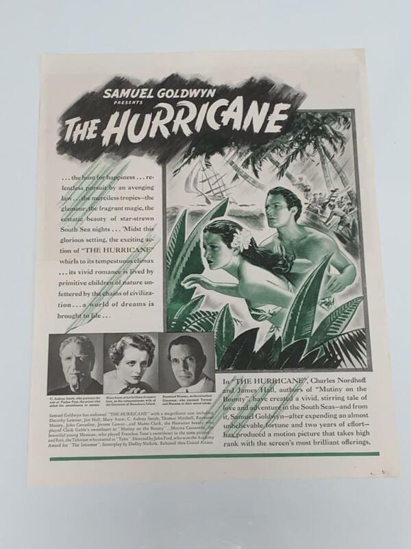 The Hurricane (1937) Vintage Magazine Ad Dorothy Lamour Mary Astor Massey