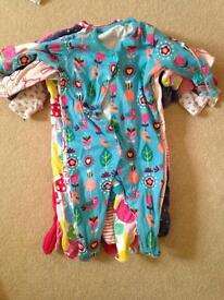 Girls 3-6 months sleepsuits