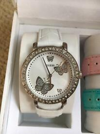 Guess leather strap watch