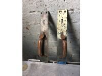 Pair Of Original Victorian Copper Door Handles / Locks Architectural Salvage - WR