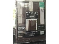 BROWN EYELET BLACK OUT THERMAL CURTAINS 90 x 90 NEW