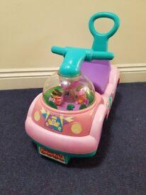 baby car, walker, free push wheels - pink