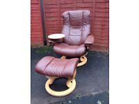 Erkornes Stressless two seater, armchair with swing table and footstool