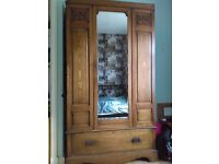 Wardrobe antique style wooden with glass mirror and drawer