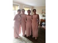 Elegant blush pink bridesmaid dresses. Soft, smooth and very eye catching. I have 4 dresses.