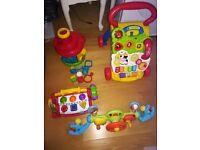 ELC steering wheel, vtech baby walker, ELC ball run & fisher price tool bench (toy bundle)