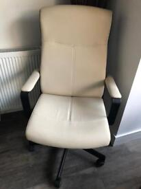 Cream leather office chair