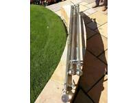 curtain poles, brushed chrome, complete fittings with rings x 3