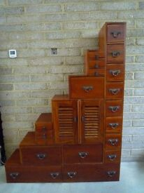 Fantastic Vintage Teak Wooden Under stair Stepped Drawers – Shoreditch style RARE