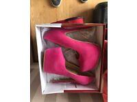 pink suedette heel shoes