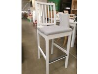 EKEDALEN Bar stool with backrest, white/Ramna light grey 62 cm, IKEA MILTON KEYNES #bargaincorner