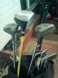 Golf bag with cart and full set of clubs